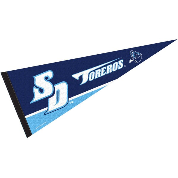 University of San Diego Pennant consists of our full size pennant which measures 12x30 inches, is constructed of felt, is single sided imprinted, and offers a pennant sleeve for insertion of a pennant stick, if desired. This San Diego Toreros Pennant Decorations is officially licensed by the selected university and the NCAA.