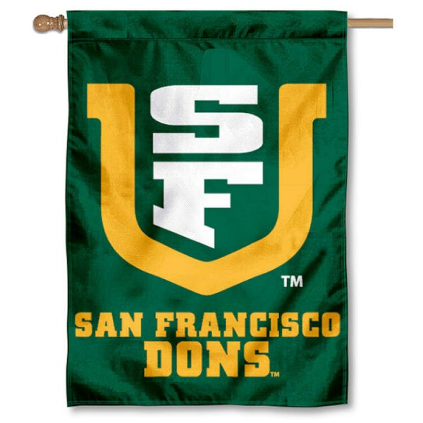 University of San Francisco Double Sided Banner is a vertical house flag which measures 28x40 inches, is made of 2 ply 100% nylon, offers screen printed NCAA team insignias, and has a top pole sleeve to hang vertically. Our University of San Francisco Double Sided Banner is officially licensed by the selected university and the NCAA.