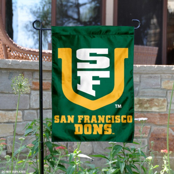 University of San Francisco Garden Flag is 13x18 inches in size, is made of 2-layer polyester, screen printed University of San Francisco athletic logos and lettering. Available with Same Day Express Shipping, Our University of San Francisco Garden Flag is officially licensed and approved by University of San Francisco and the NCAA.