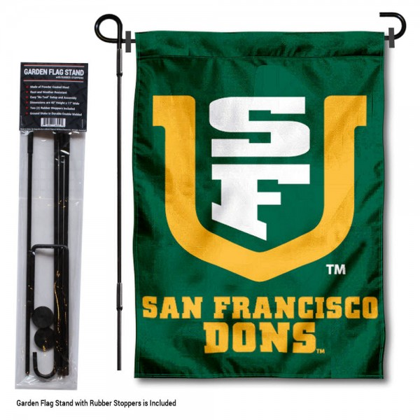 "University of San Francisco Garden Flag and Stand kit includes our 13""x18"" garden banner which is made of 2 ply poly with liner and has screen printed licensed logos. Also, a 40""x17"" inch garden flag stand is included so your University of San Francisco Garden Flag and Stand is ready to be displayed with no tools needed for setup. Fast Overnight Shipping is offered and the flag is Officially Licensed and Approved by the selected team."
