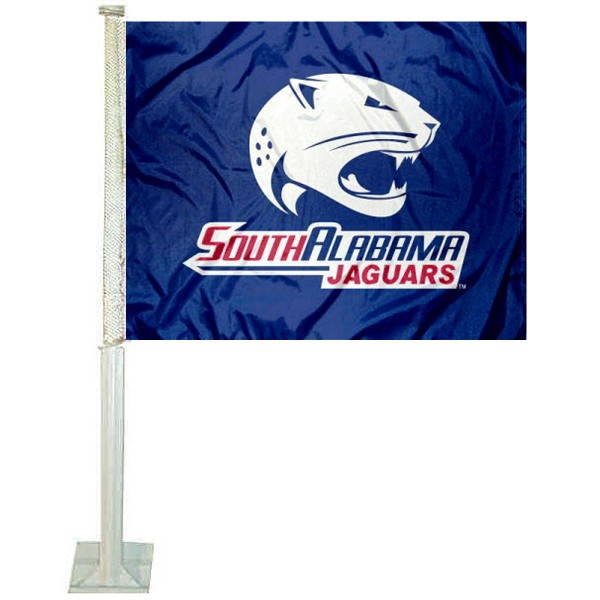 University of South Alabama Car Window Flag measures 12x15 inches, is constructed of sturdy 2 ply polyester, and has dye sublimated school logos which are readable and viewable correctly on both sides. University of South Alabama Car Window Flag is officially licensed by the NCAA and selected university.