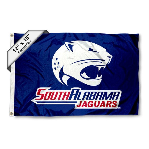 University of South Alabama Mini Flag is 12x18 inches, polyester, offers quadruple stitched flyends for durability, has two metal grommets, and is double sided. Our mini flags for University of South Alabama are licensed by the university and NCAA and can be used as a boat flag, motorcycle flag, golf cart flag, or ATV flag.