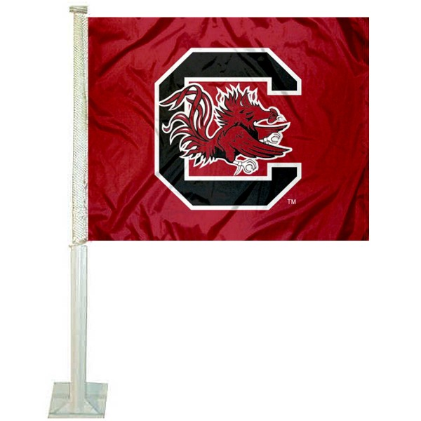 University of South Carolina Car Window Flag measures 12x15 inches, is constructed of sturdy 2 ply polyester, and has screen printed school logos which are readable and viewable correctly on both sides. University of South Carolina Car Window Flag is officially licensed by the NCAA and selected university.