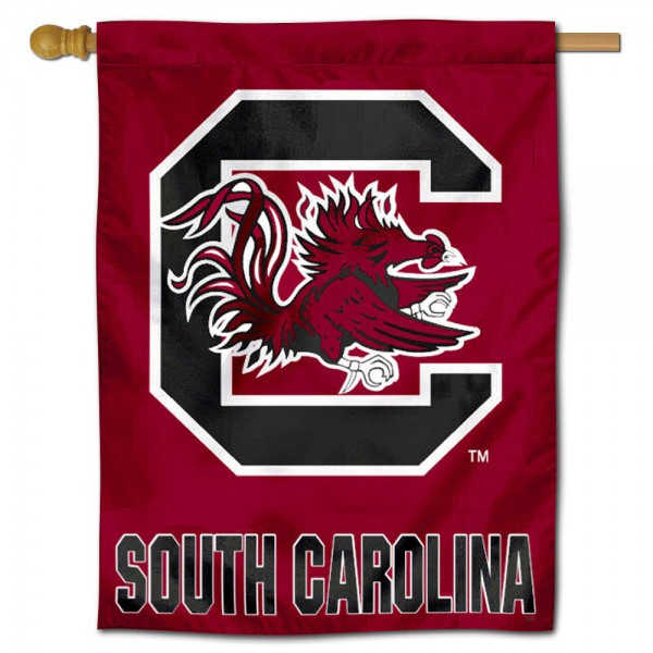 """University of South Carolina Decorative Flag is constructed of polyester material, is a vertical house flag, measures 30""""x40"""", offers screen printed athletic insignias, and has a top pole sleeve to hang vertically. Our University of South Carolina Decorative Flag is Officially Licensed by University of South Carolina and NCAA."""