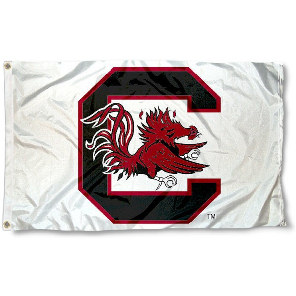 University of South Carolina Flag - White measures 3'x5', is made of 100% poly, has quadruple stitched sewing, two metal grommets, and has double sided University of South Carolina logos. Our University of South Carolina Flag - White is officially licensed by the selected university and the NCAA