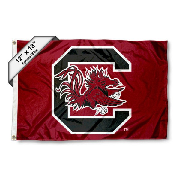 University of South Carolina Mini Flag is 12x18 inches, polyester, offers quadruple stitched flyends for durability, has two metal grommets, and is double sided. Our mini flags for University of South Carolina are licensed by the university and NCAA and can be used as a boat flag, motorcycle flag, golf cart flag, or ATV flag