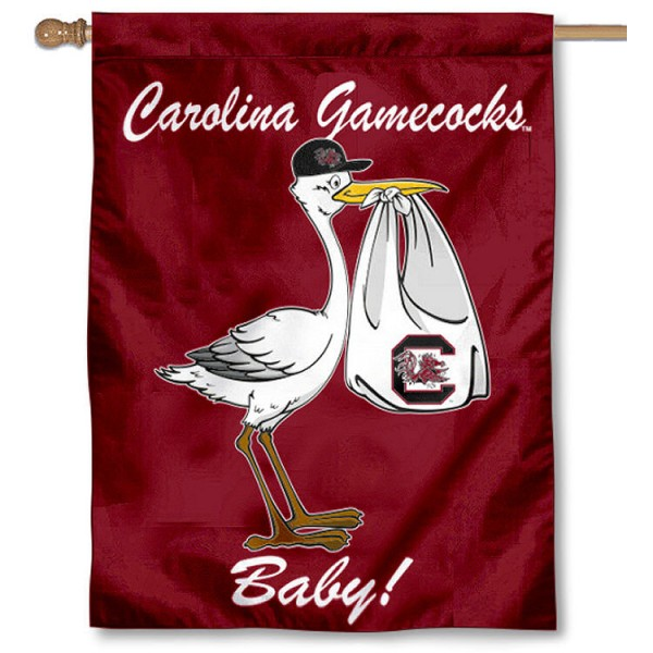 University of South Carolina New Baby Flag measures 30x40 inches, is made of poly, has a top hanging sleeve, and offers dye sublimated Gamecocks logos. This Decorative University of South Carolina New Baby House Flag is officially licensed by the NCAA.