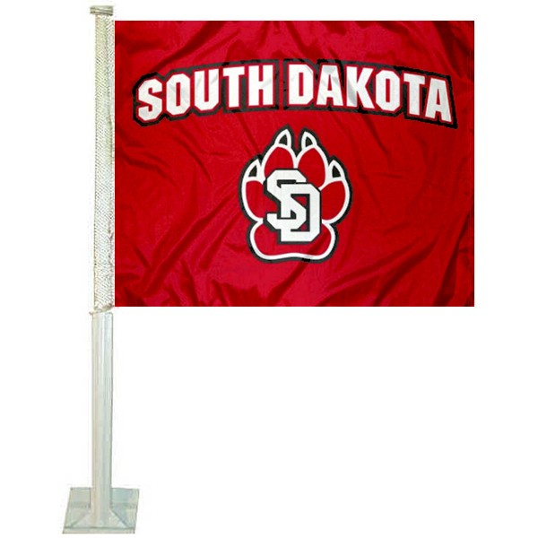 University of South Dakota Car Window Flag measures 12x15 inches, is constructed of sturdy 2 ply polyester, and has screen printed school logos which are readable and viewable correctly on both sides. University of South Dakota Car Window Flag is officially licensed by the NCAA and selected university.
