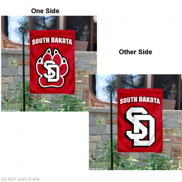 University of South Dakota Garden Flag is 13x18 inches in size, is made of 2-layer polyester, screen printed University of South Dakota athletic logos and lettering. Available with Same Day Express Shipping, Our University of South Dakota Garden Flag is officially licensed and approved by University of South Dakota and the NCAA.