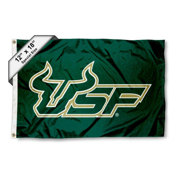 University of South Florida Mini Flag is 12x18 inches, polyester, offers quadruple stitched flyends for durability, has two metal grommets, and is double sided. Our mini flags for University of South Florida are licensed by the university and NCAA and can be used as a boat flag, motorcycle flag, golf cart flag, or ATV flag