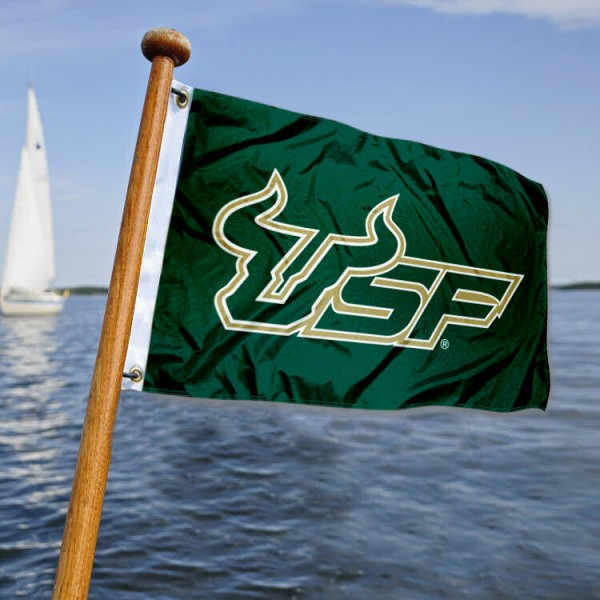 University of South Florida Nautical Flag measures 12x18 inches, is made of two-ply polyesters, offers quadruple stitched flyends for durability, has two metal grommets, and is viewable from both sides. Our University of South Florida Nautical Flag is officially licensed by the selected university and the NCAA and can be used as a motorcycle flag, golf cart flag, or ATV flag