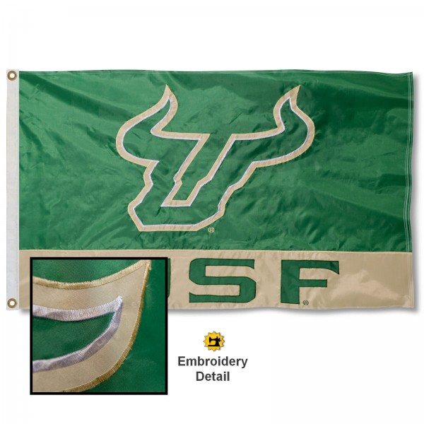 University of South Florida Nylon Embroidered Flag measures 3'x5', is made of 100% nylon, has quadruple flyends, two metal grommets, and has double sided appliqued and embroidered University logos. These University of South Florida 3x5 Flags are officially licensed by the selected university and the NCAA.