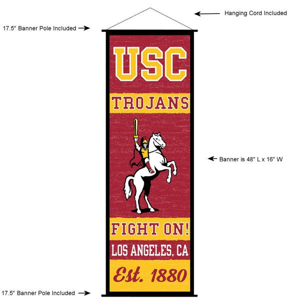 "This ""ready to hang"" University of Southern California Decor and Banner is made of polyester material, measures a large 17.5"" x 48"", offers screen printed athletic logos, and includes both top and bottom 3/4"" diameter plastic banner poles and hanging cord. Our University of Southern California D�cor and Banner is Officially Licensed by the selected college and NCAA."