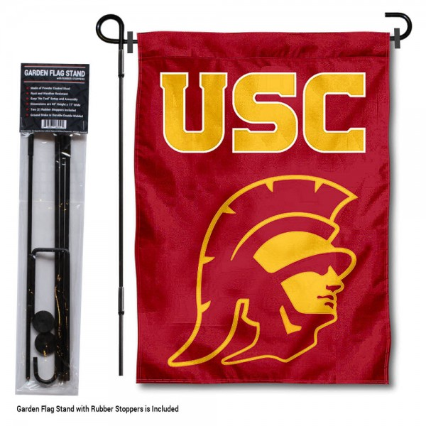 "University of Southern California Garden Flag and Stand kit includes our 13""x18"" garden banner which is made of 2 ply poly with liner and has screen printed licensed logos. Also, a 40""x17"" inch garden flag stand is included so your University of Southern California Garden Flag and Stand is ready to be displayed with no tools needed for setup. Fast Overnight Shipping is offered and the flag is Officially Licensed and Approved by the selected team."
