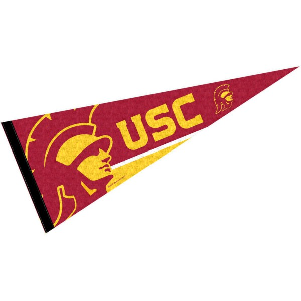 University of Southern California Pennant consists of our full size sports pennant which measures 12x30 inches, is constructed of felt, is single sided imprinted, and offers a pennant sleeve for insertion of a pennant stick, if desired. This USC Trojans Pennant Decorations is Officially Licensed by the selected university and the NCAA.