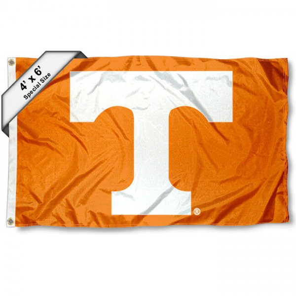University of Tennessee 4x6 Flag measures 4x6 feet, is made thick woven polyester, has quadruple stitched flyends, two metal grommets, and offers screen printed NCAA University of Tennessee athletic logos and insignias. Our University of Tennessee 4x6 Flag is officially licensed by University of Tennessee and the NCAA.