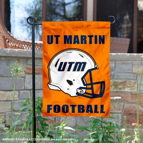 University of Tennessee at Martin Football Helmet Garden Banner is 13x18 inches in size, is made of 2-layer polyester, screen printed University of Tennessee at Martin athletic logos and lettering. Available with Same Day Express Shipping, Our University of Tennessee at Martin Football Helmet Garden Banner is officially licensed and approved by University of Tennessee at Martin and the NCAA.