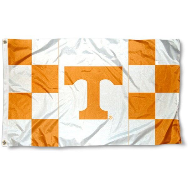 University of Tennessee Checkered Flag measures 3'x5', is made of 100% poly, has quadruple stitched sewing, two metal grommets, and has double sided University of Tennessee logos. Our University of Tennessee Checkered Flag is officially licensed by the selected university and the NCAA