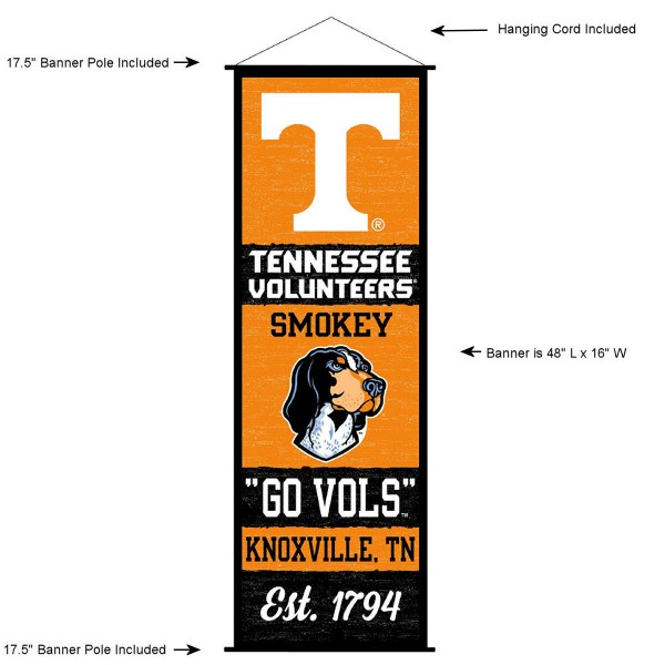 """This """"ready to hang"""" University of Tennessee Decor and Banner is made of polyester material, measures a large 17.5"""" x 48"""", offers screen printed athletic logos, and includes both top and bottom 3/4"""" diameter plastic banner poles and hanging cord. Our University of Tennessee D�cor and Banner is Officially Licensed by the selected college and NCAA."""
