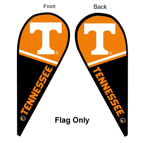 University of Tennessee Feather Flag is 9 feet by 3 feet and is a tall 10' when fully assembled. The feather flag is made of thick polyester and is readable and viewable on both sides. The screen printed Tennessee Volunteers double sided logos are NCAA Officially Licensed and is Team and University approved.