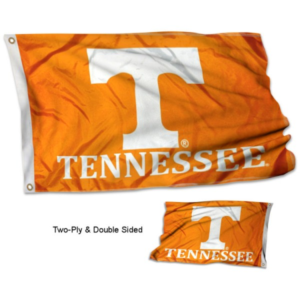 University of Tennessee Flag measures 3'x5', is made of 2 layer 100% polyester, has quadruple stitched flyends for durability, and is readable correctly on both sides. Our University of Tennessee Flag is officially licensed by the university, school, and the NCAA