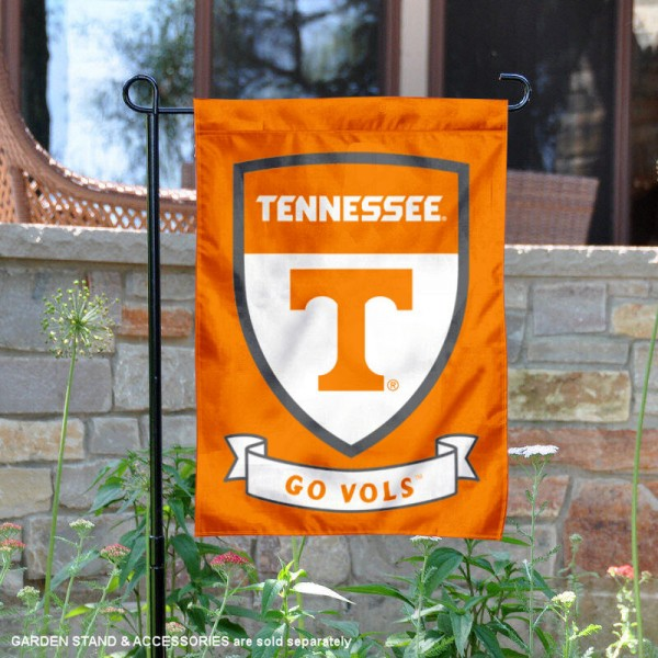 University of Tennessee Go Vols Shield Garden Flag is 13x18 inches in size, is made of 2-layer polyester, screen printed university athletic logos and lettering, and is readable and viewable correctly on both sides. Available same day shipping, our University of Tennessee Go Vols Shield Garden Flag is officially licensed and approved by the university and the NCAA.