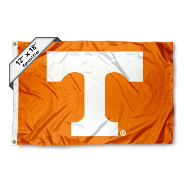University of Tennessee Mini Flag is 12x18 inches, polyester, offers quadruple stitched flyends for durability, has two metal grommets, and is double sided. Our mini flags for University of Tennessee are licensed by the university and NCAA and can be used as a boat flag, motorcycle flag, golf cart flag, or ATV flag