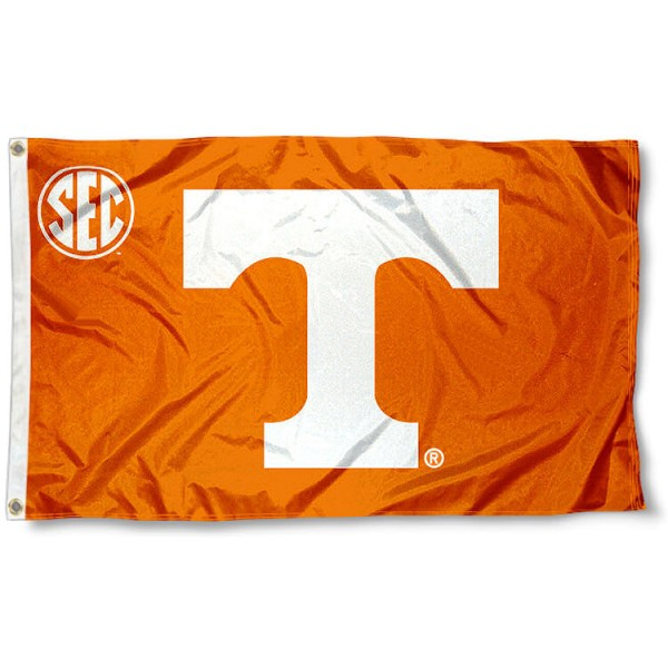 University of Tennessee SEC Flag measures 3'x5', is made of 100% poly, has quadruple stitched sewing, two metal grommets, and has double sided Team University logos. Our University of Tennessee SEC Flag is officially licensed by the selected university and the NCAA.