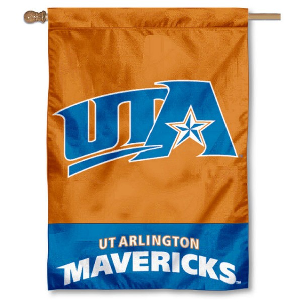 University of Texas at Arlington House Flag is a vertical house flag which measures 28x40 inches, is made of 2 ply 100% nylon, offers dye sublimated NCAA team insignias, and has a top pole sleeve to hang vertically. Our University of Texas at Arlington House Flag is officially licensed by the selected university and the NCAA