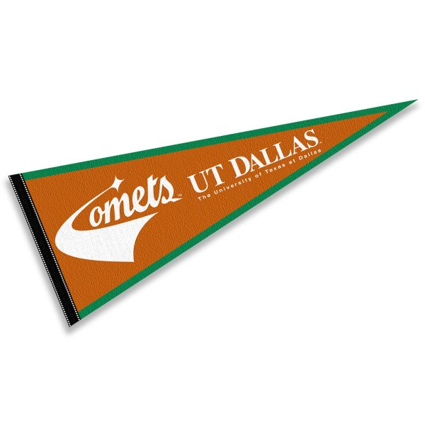 University of Texas at Dallas Comets Pennant consists of our full size sports pennant which measures 12x30 inches, is constructed of felt, is single sided imprinted, and offers a pennant sleeve for insertion of a pennant stick, if desired. This University of Texas at Dallas Comets Pennant Decorations is Officially Licensed by the selected university and the NCAA.