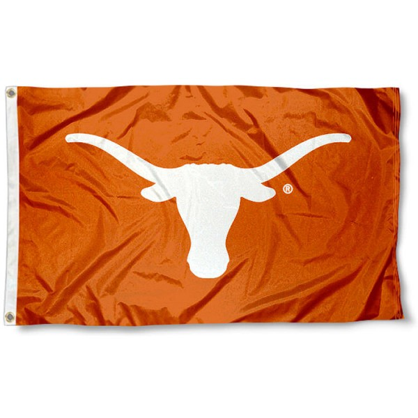 University of Texas Bevo Flag measures 3'x5', is made of 100% poly, has quadruple stitched sewing, two metal grommets, and has double sided University of Texas logos. Our University of Texas Bevo Flag is officially licensed by the selected university and the NCAA