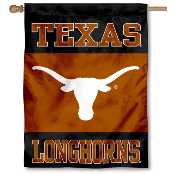 University of Texas Black House Flag is a vertical house flag which measures 30x40 inches, is made of 2 ply 100% polyester, offers screen printed NCAA team insignias, and has a top pole sleeve to hang vertically. Our University of Texas Black House Flag is officially licensed by the selected university and the NCAA.