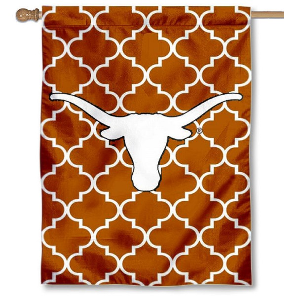 University of Texas Decorative Banner Flag is a vertical house flag which measures 30x40 inches, is made of 2 ply 100% polyester, offers dye sublimated NCAA team insignias, and has a top pole sleeve to hang vertically. Our University of Texas Decorative Banner Flag is officially licensed by the selected university and the NCAA.