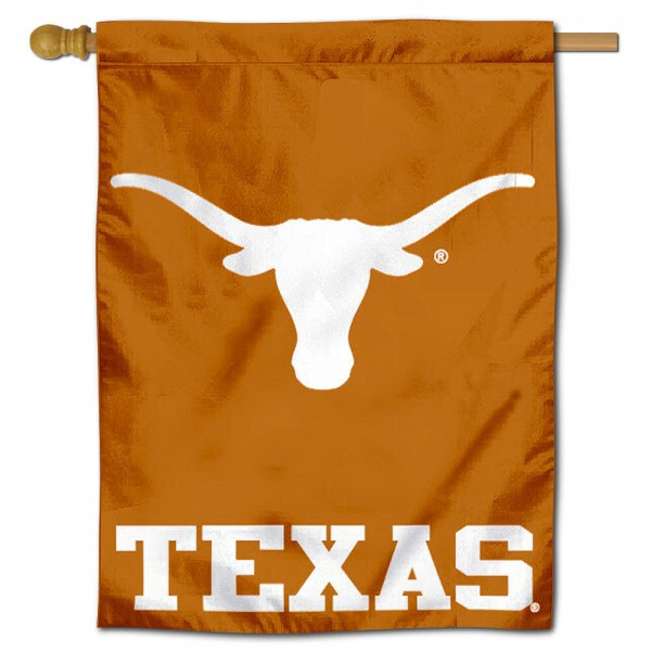 "University of Texas Decorative Flag is constructed of polyester material, is a vertical house flag, measures 30""x40"", offers screen printed athletic insignias, and has a top pole sleeve to hang vertically. Our University of Texas Decorative Flag is Officially Licensed by University of Texas and NCAA."
