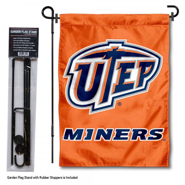 "University of Texas El Paso Garden Flag and Stand kit includes our 13""x18"" garden banner which is made of 2 ply poly with liner and has screen printed licensed logos. Also, a 40""x17"" inch garden flag stand is included so your University of Texas El Paso Garden Flag and Stand is ready to be displayed with no tools needed for setup. Fast Overnight Shipping is offered and the flag is Officially Licensed and Approved by the selected team."