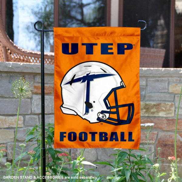 University of Texas El Paso Football Helmet Garden Banner is 13x18 inches in size, is made of 2-layer polyester, screen printed University of Texas El Paso athletic logos and lettering. Available with Same Day Express Shipping, Our University of Texas El Paso Football Helmet Garden Banner is officially licensed and approved by University of Texas El Paso and the NCAA.