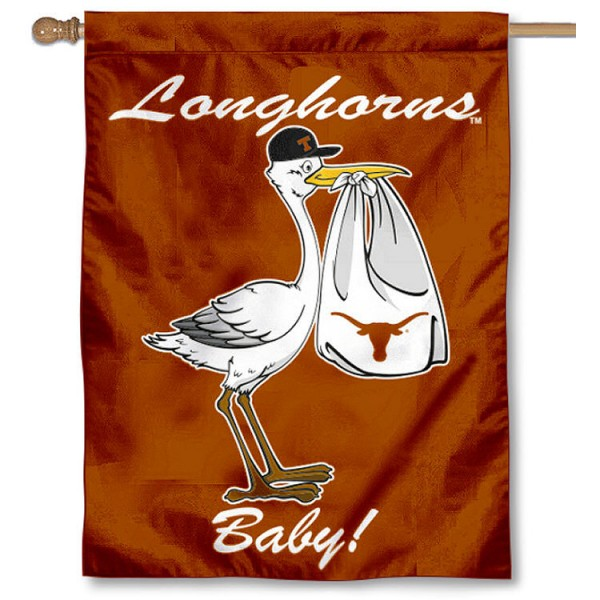 University of Texas New Baby Flag measures 30x40 inches, is made of poly, has a top hanging sleeve, and offers dye sublimated Longhorns logos. This Decorative University of Texas New Baby House Flag is officially licensed by the NCAA.