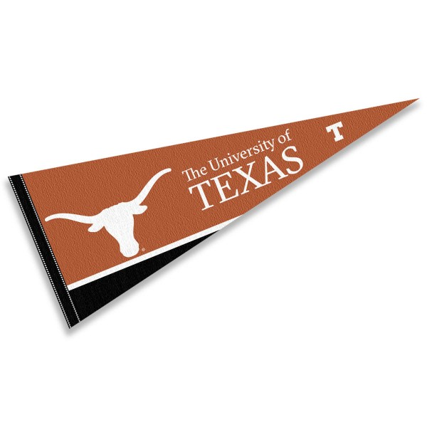 University of Texas Pennant consists of our full size sports pennant which measures 12x30 inches, is constructed of felt, is single sided imprinted, and offers a pennant sleeve for insertion of a pennant stick, if desired. This UT Longhorns Pennant Decorations is Officially Licensed by the selected university and the NCAA.