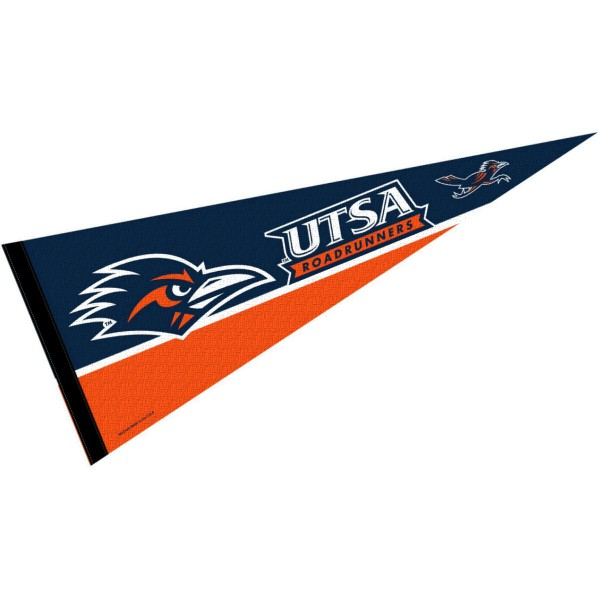 University of Texas San Antonio Decorations consists of our full size pennant which measures 12x30 inches, is constructed of felt, single sided imprinted, and offers a pennant sleeve for insertion of a pennant stick, if desired. These University of Texas San Antonio Decorations are Officially Licensed by the selected University and the NCAA.