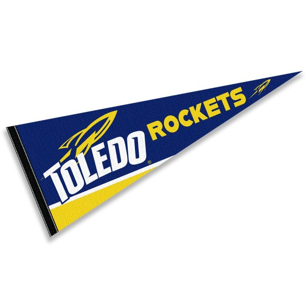 University of Toledo Decorations consists of our full size pennant which measures 12x30 inches, is constructed of felt, is single sided imprinted, and offers a pennant sleeve for insertion of a pennant stick, if desired. This University of Toledo Decorations is officially licensed by the selected university and the NCAA.
