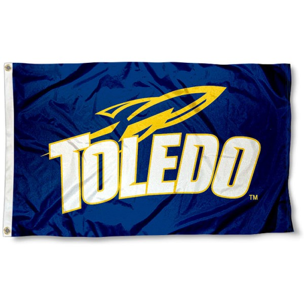 University of Toledo Flag measures 3'x5', is made of 100% poly, has quadruple stitched sewing, two metal grommets, and has double sided University of Toledo logos. Our University of Toledo Flag is officially licensed by the selected university and the NCAA
