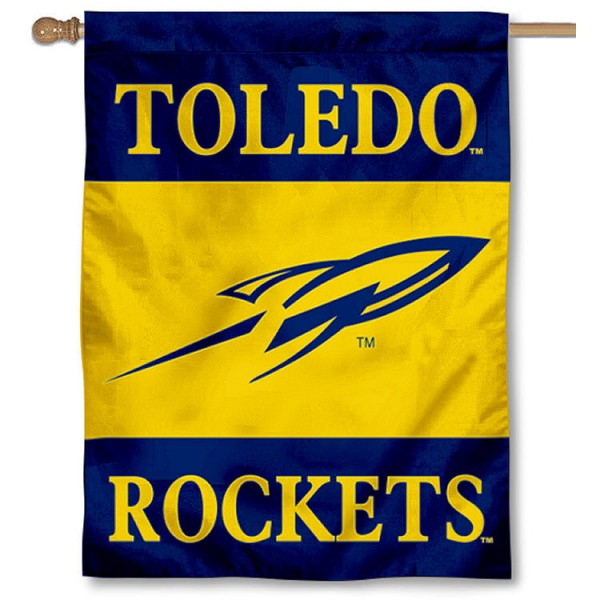 University of Toledo House Flag is a vertical house flag which measures 30x40 inches, is made of 2 ply 100% polyester, offers dye sublimated NCAA team insignias, and has a top pole sleeve to hang vertically. Our University of Toledo House Flag is officially licensed by the selected university and the NCAA