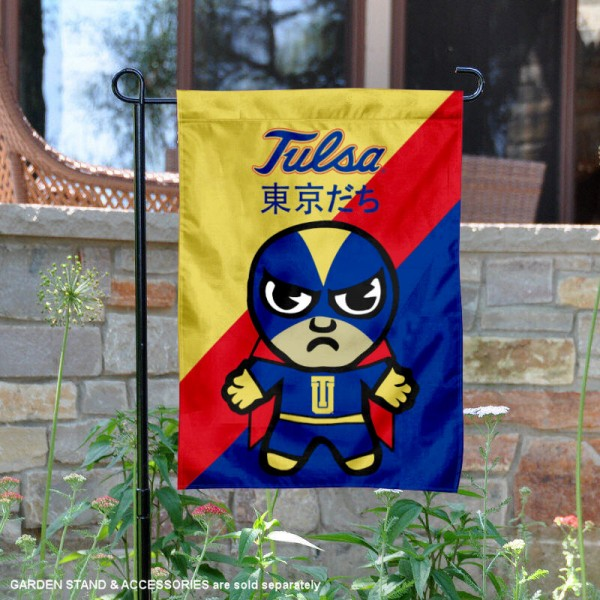 University of Tulsa Tokyodachi Mascot Yard Flag is 13x18 inches in size, is made of double layer polyester, screen printed university athletic logos and lettering, and is readable and viewable correctly on both sides. Available same day shipping, our University of Tulsa Tokyodachi Mascot Yard Flag is officially licensed and approved by the university and the NCAA.