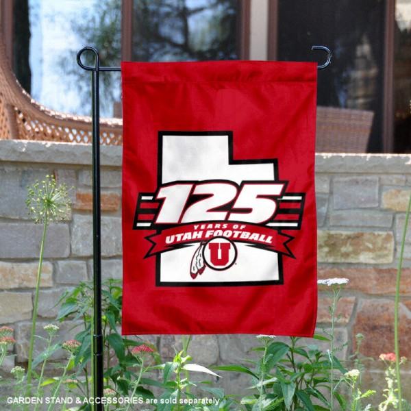 University of Utah 125 Seasons Garden Flag is 13x18 inches in size, is made of 2-layer polyester, screen printed university athletic logos and lettering, and is readable and viewable correctly on both sides. Available same day shipping, our University of Utah 125 Seasons Garden Flag is officially licensed and approved by the university and the NCAA.