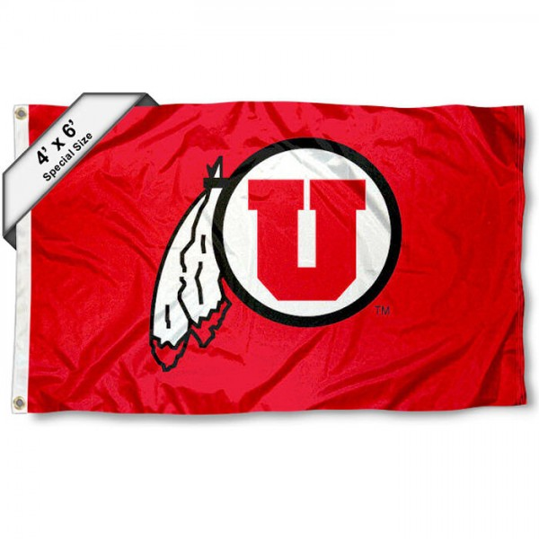 University of Utah 4x6 Flag measures 4x6 feet, is made of thick woven polyester, has quadruple stitched flyends, two metal grommets, and offers screen printed NCAA University of Utah athletic logos and insignias. Our University of Utah 4x6 Flag is officially licensed by University of Utah and the NCAA.