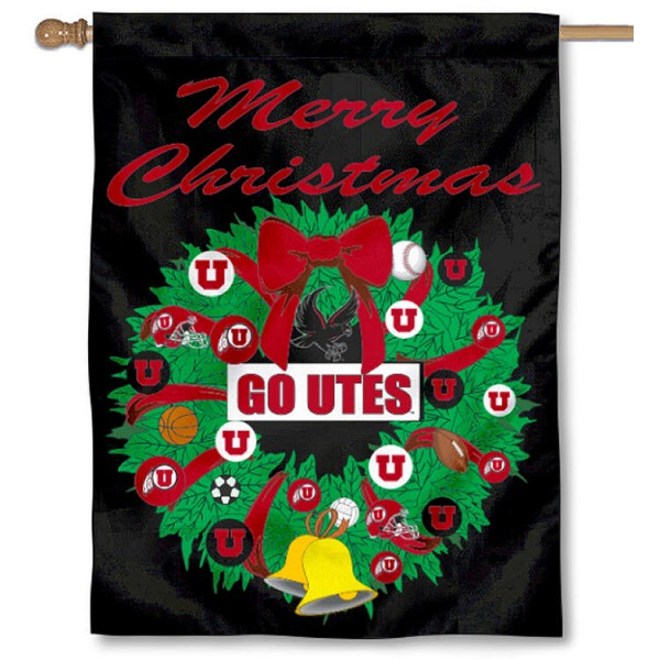 University of Utah Holiday Flag is a decorative house flag, 30x40 inches, made of 100% polyester, Holiday NCAA team insignias, and has a top pole sleeve to hang vertically. Our University of Utah Holiday Flag is officially licensed by the selected university and the NCAA.