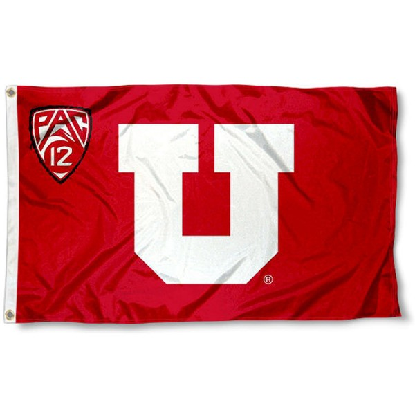 University of Utah Pac 12 Flag measures 3'x5', is made of 100% poly, has quadruple stitched sewing, two metal grommets, and has double sided Team University logos. Our University of Utah Pac 12 Flag is officially licensed by the selected university and the NCAA.