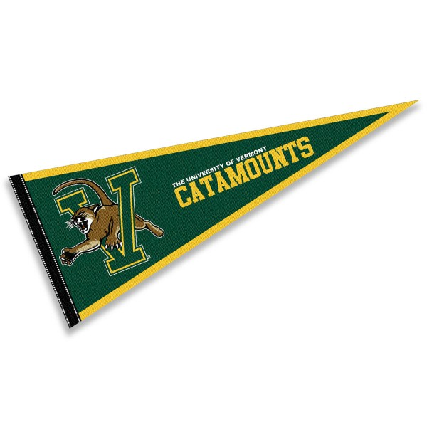 University of Vermont Wordmark Pennant consists of our full size sports pennant which measures 12x30 inches, is constructed of felt, is single sided imprinted, and offers a pennant sleeve for insertion of a pennant stick, if desired. This University of Vermont Wordmark Pennant Decorations is Officially Licensed by the selected university and the NCAA.