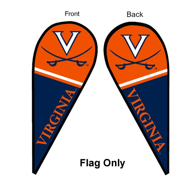 University of Virginia Feather Flag is 9 feet by 3 feet and is a tall 10' when fully assembled. The feather flag is made of thick polyester and is readable and viewable on both sides. The screen printed Virginia Cavaliers double sided logos are NCAA Officially Licensed and is Team and University approved.