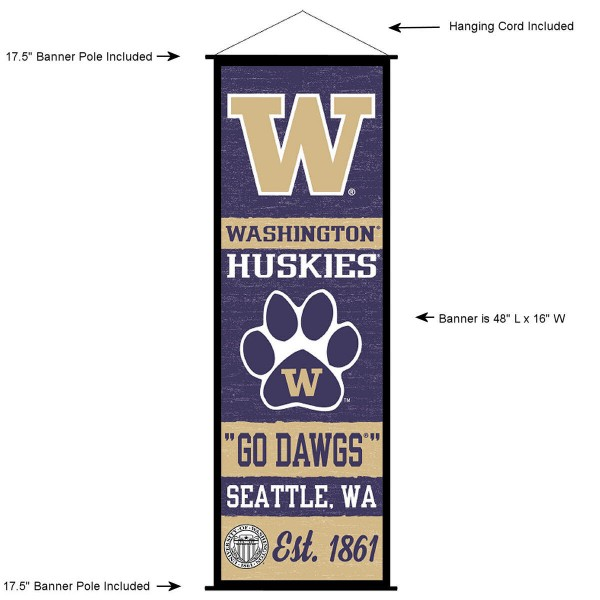 "This ""ready to hang"" University of Washington Decor and Banner is made of polyester material, measures a large 17.5"" x 48"", offers screen printed athletic logos, and includes both top and bottom 3/4"" diameter plastic banner poles and hanging cord. Our University of Washington D�cor and Banner is Officially Licensed by the selected college and NCAA."